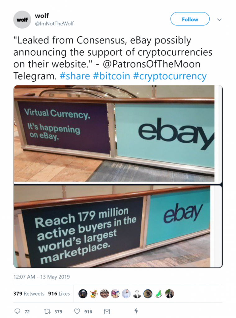Crypto Payments can be made on ebay.